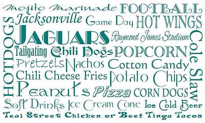 Jacksonville Jaguars Game Day Food 1 Art Print by Andee Design