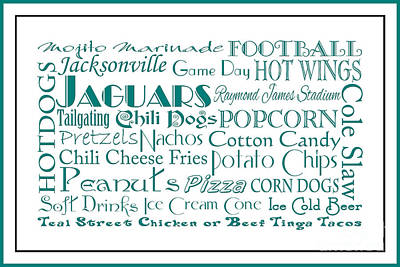 Jacksonville Jaguars Game Day Food 3 Art Print by Andee Design
