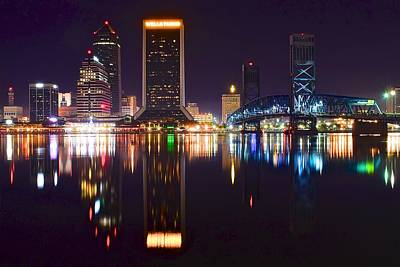 Photograph - Jacksonville Night Mirror Image by Frozen in Time Fine Art Photography