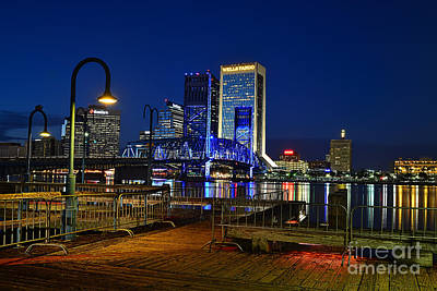 Comic Character Paintings - Jacksonville nightscape by Paul Quinn
