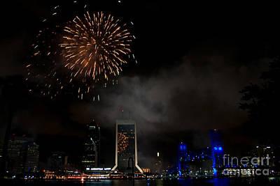 Jacksonville Skyline Fireworks Art Print