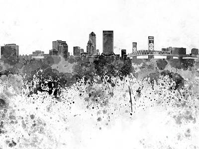 Jacksonville Skyline In Black Watercolor On White Background Art Print by Pablo Romero