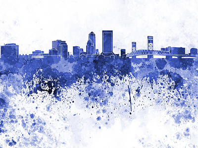 Jacksonville Skyline In Blue Watercolor On White Background Art Print by Pablo Romero