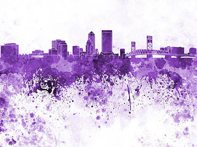 Jacksonville Skyline In Purple Watercolor On White Background Art Print by Pablo Romero
