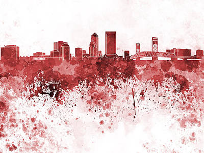Jacksonville Skyline In Red Watercolor On White Background Art Print by Pablo Romero