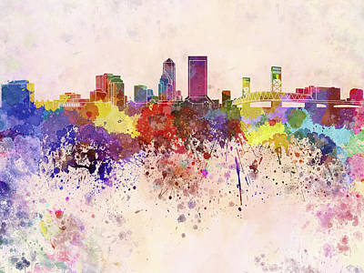 Abstract Skyline Digital Art Rights Managed Images - Jacksonville skyline in watercolor background Royalty-Free Image by Pablo Romero