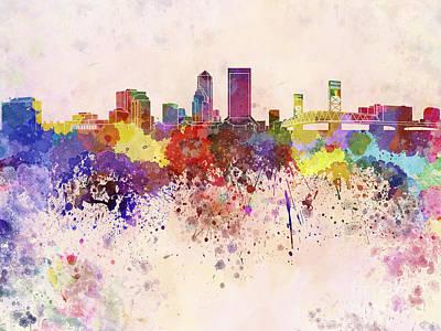 Jacksonville Skyline In Watercolor Background Art Print by Pablo Romero