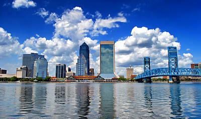 Florida Bridge Photograph - Jacksonville Skyline by Mountain Dreams