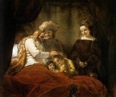 Baroque Painting - Jacob Blessing The Sons Of Joseph by Rembrandt van Rijn