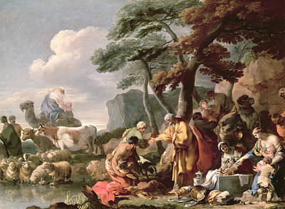 Genesis Photograph - Jacob Burying The Strange Gods Under The Oak By Shechem Oil On Canvas by Sebastien Bourdon