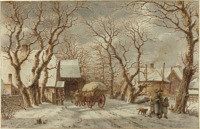 Winter Scene Drawing - Jacob Cats Dutch, 1741 - 1799, Winter Scene by Quint Lox