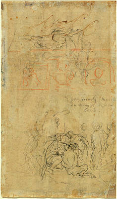 Drunken Drawing - Jacob Jordaens, Sheet Of Studies With The Drunken Pan by Quint Lox