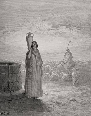 Sheep Drawing - Jacob Keeping Laban's Flock by Gustave Dore