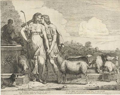 Jacob Kisses Rachel At The Well, Gerrit Bleker Print by Gerrit Bleker And Joannes Meyssens