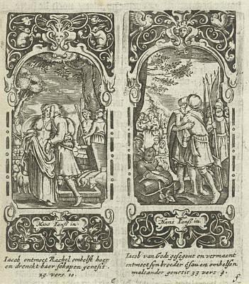 Jacob Kisses Rachel, Esau Embraces Jacob Print by Anonymous