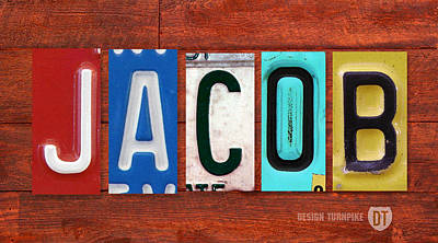 Signed Mixed Media - Jacob License Plate Name Sign Fun Kid Room Decor. by Design Turnpike