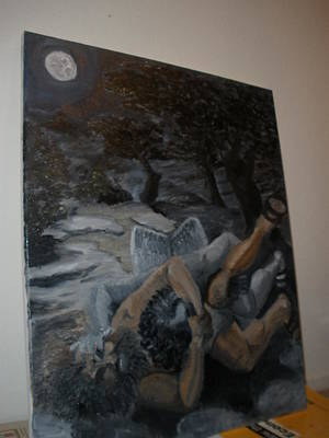 Wrestle Painting - Jacob Wrestles The Angel by Peter  Bellone