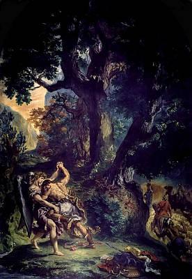 Mannequin Dresses Rights Managed Images - Jacob Wrestling the Angel Royalty-Free Image by Eugene Delacroix