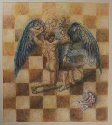Jacob Wrestling The Angel Art Print by Paez  Antonio