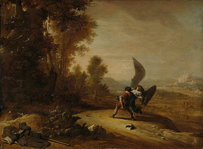 Wrestling Drawing - Jacob Wrestling With The Angel, Bartholomeus Breenbergh by Litz Collection