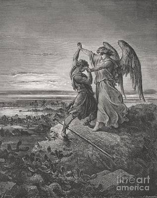 Engraving Drawing - Jacob Wrestling With The Angel by Gustave Dore