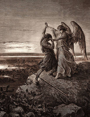 Wrestling Drawing - Jacob Wrestling With The Angel by Litz Collection