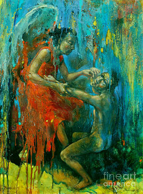 Jacob Wrestling With The Angel Original by Michal Kwarciak