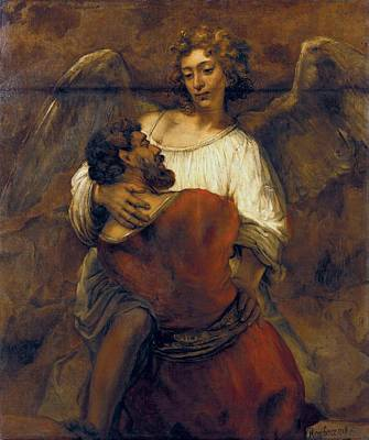 Berlin Germany Painting - Jacob Wrestling With The Angel by Rembrandt van Rijn