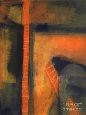 Wall Art - Painting - Orange Ladder by Ellen Moore Osborne