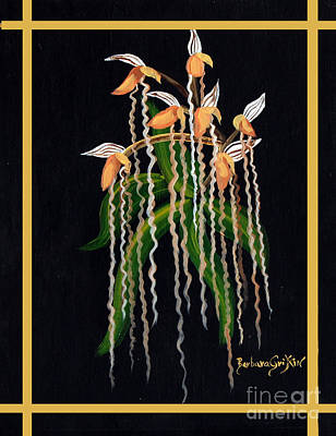 Tendrils Painting - Jacob's Ladder Slipper Orchid by Barbara Griffin