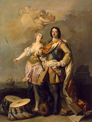 Allegorical Figure Painting - Peter I With Minerva With The Allegorical Figure Of Glory by Jacopo Amigoni