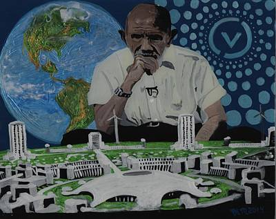 Reverse Painting - Jacque Fresco The Venus Project by David Moriarty