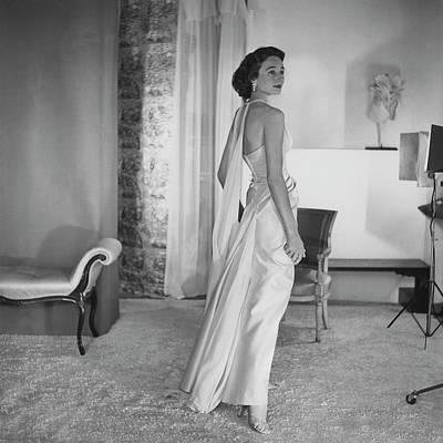 Chiffon Photograph - Jacqueline De Ribes Wearing A Desses Dress by Horst P. Horst