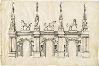 Wash Drawing - Jacques Androuet Ducerceau I, A Triumphal Arch by Quint Lox