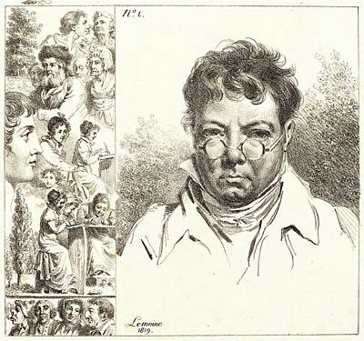 Self-portrait Drawing - Jacques Antoine Marie Lemoine, French 1751-1824 by Litz Collection