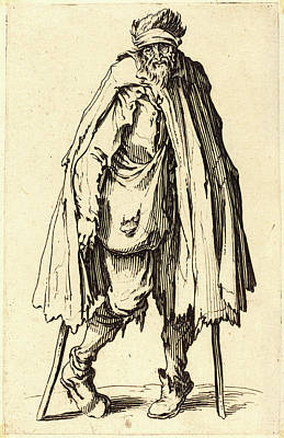 Crutch Drawing - Jacques Callot, French 1592-1635, Beggar With Crutches by Litz Collection