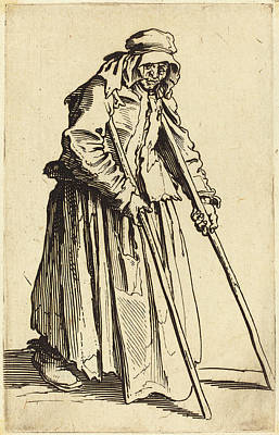 Crutch Drawing - Jacques Callot French, 1592 - 1635, Beggar Woman by Quint Lox