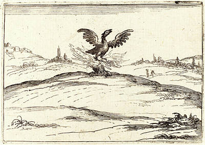 Phoenix Drawing - Jacques Callot, French 1592-1635, Burning Phoenix by Litz Collection