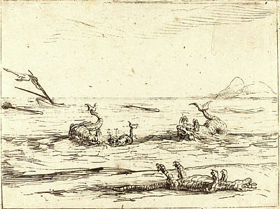 Crocodile Drawing - Jacques Callot, French 1592-1635, Dolphins And Crocodile by Litz Collection