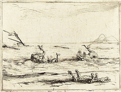 Crocodile Drawing - Jacques Callot French, 1592 - 1635, Dolphins And Crocodile by Quint Lox