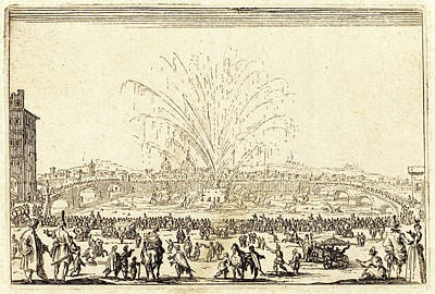 Fireworks Drawing - Jacques Callot, French 1592-1635, Fireworks On The Arno by Litz Collection
