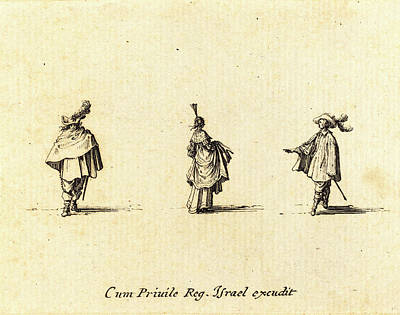 Jacques Callot, French 1592-1635, Lady With Dress Gathered Art Print