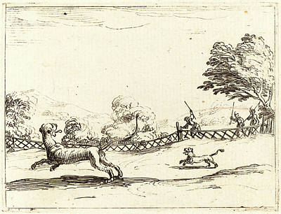 Cubs Drawing - Jacques Callot, French 1592-1635, Lioness And Cub Pursued by Litz Collection