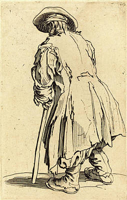 Crutch Drawing - Jacques Callot, French 1592-1635, Old Beggar With One Crutch by Litz Collection