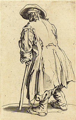 Crutch Drawing - Jacques Callot French, 1592 - 1635, Old Beggar With One by Quint Lox
