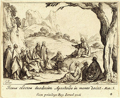 Sermon Drawing - Jacques Callot, French 1592-1635, Sermon On The Mount by Litz Collection