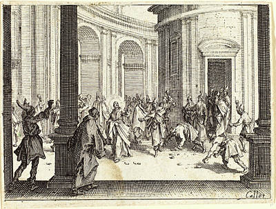 Jesus Drawing - Jacques Callot, French 1592-1635, Stoning Of Jesus by Litz Collection