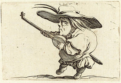 Lute Drawing - Jacques Callot, French 1592-1635, The Lute Player by Litz Collection