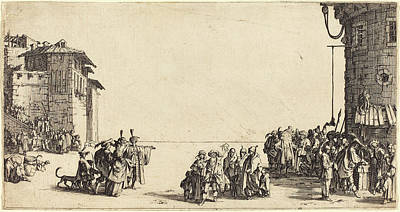 Slaves Drawing - Jacques Callot French, 1592 - 1635, The Slave Market by Quint Lox