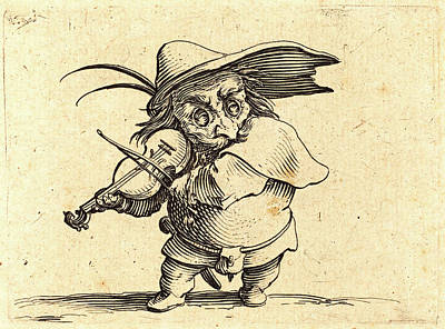 Violin Player Drawing - Jacques Callot, French 1592-1635, The Violin Player by Litz Collection